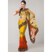Prafful Embroidered Net Orange Saree