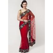 Buy Prafful Saree online Embroidered Net Red Sarees