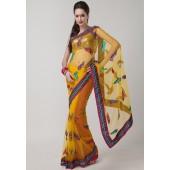 Prafful Embroidered Net Yellow Sarees