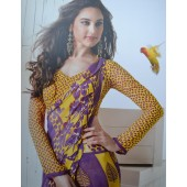 Purple and Yellow colour Georgette Casual Sarees
