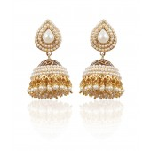 Rajwada Arts Pearl Studded Traditional Jhumki
