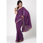 RCPC Embroidered Crepe Purple Saree