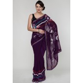 RCPC Embroidered Georgette Purple Saree