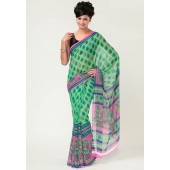 RCPC Printed Chiffon Green Saree