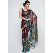 RCPC Printed Georgette Purple Saree
