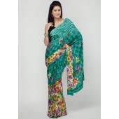RCPC Printed Jacquard Crepe Sea Green Printed Saree