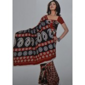 Red and Black Casual Saree in Bombay Cotton Material