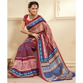 Red and Blue colour Peacock Silk Casual Sarees