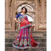 Red and Indigo Designer Sarees Net material 1
