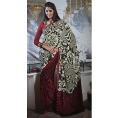 Red and Off white  Multi Colour Casual Saree