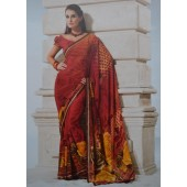 Red Casual Saree in Georgette Material