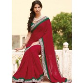 Red Georgette with silk border bloated belly