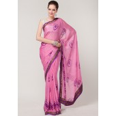 Roop Kashish Lace Bordered Printed Georgette Pink Saree