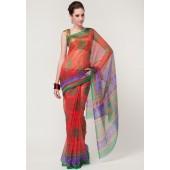 Roop Kashish Super Net Cotton Red Printed Saree