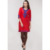 Sangria-Embroidered-V-Neck-32F4th-Sleeve-Cotton-Red-Kurta