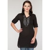 Black coloured, thigh-length kurta for women from the house of Sangria.