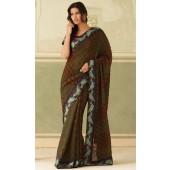 satin patta saree with perkness