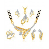 Sukkhi CZ Leafy Mangalsutra, Ring & Earring Combo