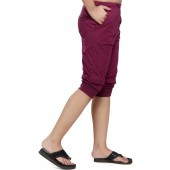 Clifton Purple Cotton Lycra Capri