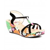 Sindhi Footwear Black Wedges Sandals