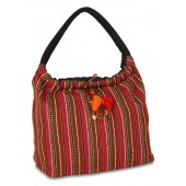 Decorated with tassels, this handwoven, hobo bag has 1 mobile pocket and 1 pocket to keep coins.