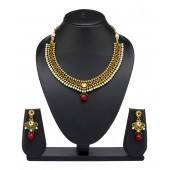 Vk Jewels Kundan Beaded Gold Plated Necklace Set