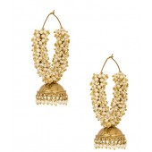 Voylla Big Jhumki Hoop Earrings Studded With Pearl Beads