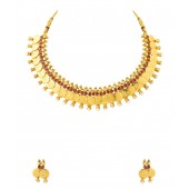 Voylla Choker Coin Necklace Set Encrusted With Pearls