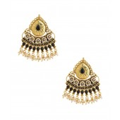 Voylla Exotic Gold Plated Pair Of Earrings With Black Color Stones And Pearl Beads