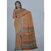 Yellow colour Bombay Cotton Material Sarees