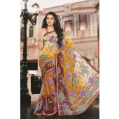 Yellow colour Georgette Casual Sarees